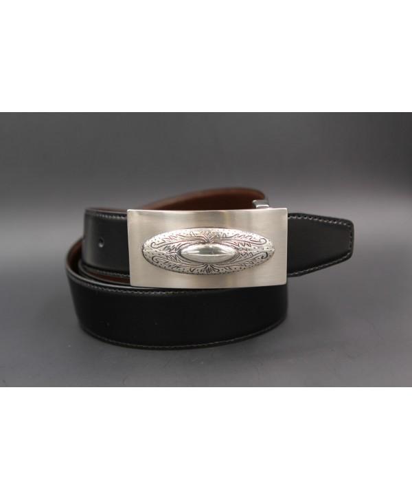 Ceinture cuir réversible boucle western nickel - Noir-Marron