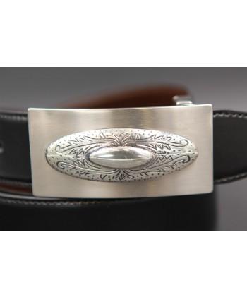 Ceinture cuir réversible boucle western nickel - Noir-Marron - détail boucle