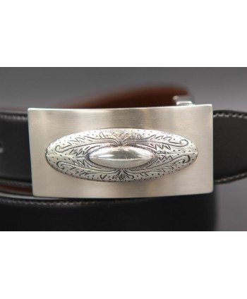 Reversible leather belt with western buckle - Black-Brown - buckle detail