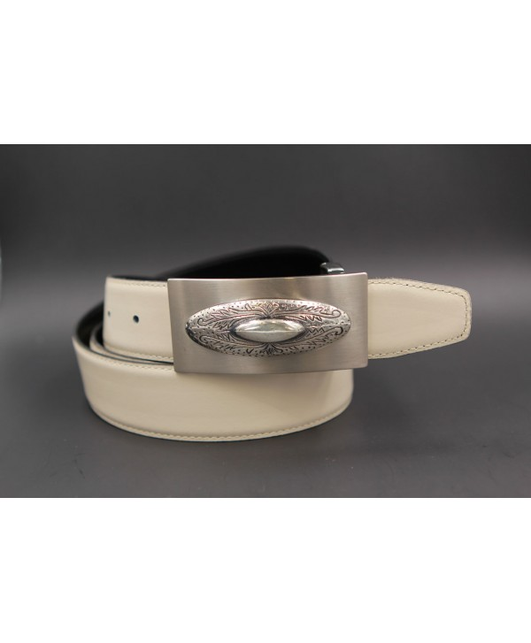 Reversible leather belt with western buckle - White cream-Black