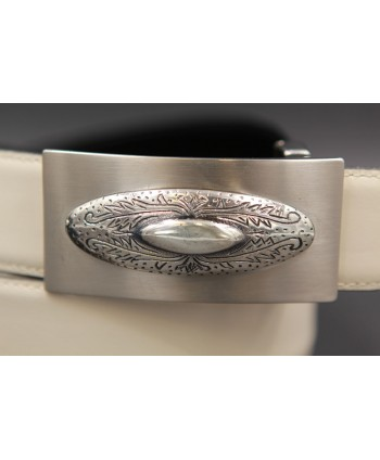Reversible leather belt with western buckle - White cream-Black - buckle detail