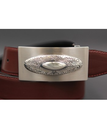 Reversible leather belt with western buckle - Brown-Black - buckle detail
