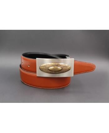Ceinture cuir réversible boucle western nickel dorée - Cognac-noir