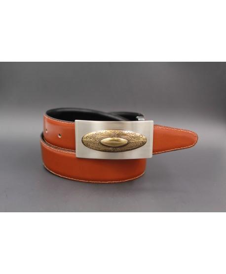 Reversible leather belt with nickel golden western buckle - Cognac-black