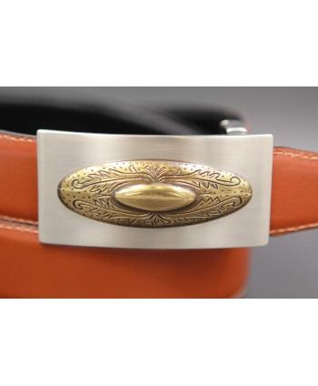 Reversible leather belt with nickel golden western buckle - Cognac-black - buckle detail