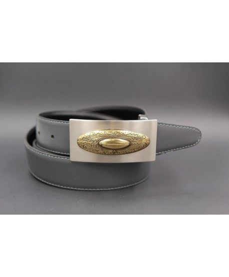 Reversible leather belt with nickel golden western buckle - Grey-black