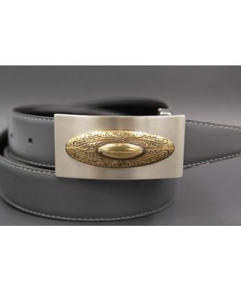 Reversible leather belt with nickel golden western buckle - Grey-black - buckle detail