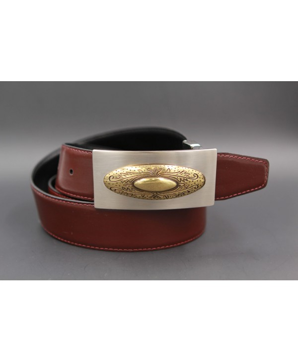 Reversible leather belt with nickel golden western buckle - Brown-black