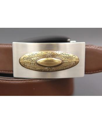 Ceinture cuir réversible boucle western nickel dorée - Marron-noir - détail boucle