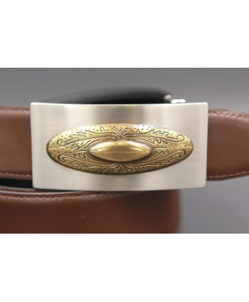 Reversible leather belt with nickel golden western buckle - Brown-black - buckle detail