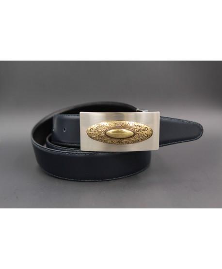 Reversible leather belt with nickel golden western buckle - Navy blue-brown