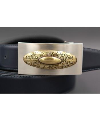 Reversible leather belt with nickel golden western buckle - Navy blue-brown - buckle detail