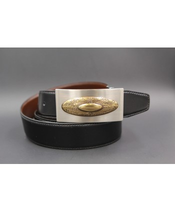 Reversible leather belt with nickel golden western buckle - Black-brown