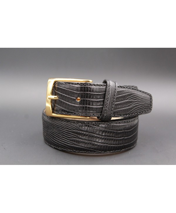 Ceinture cuir noir façon Lézard - boucle dorée