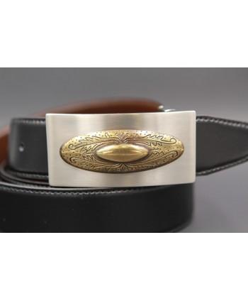 Ceinture cuir réversible boucle western nickel dorée - Noir-Marron - détail boucle
