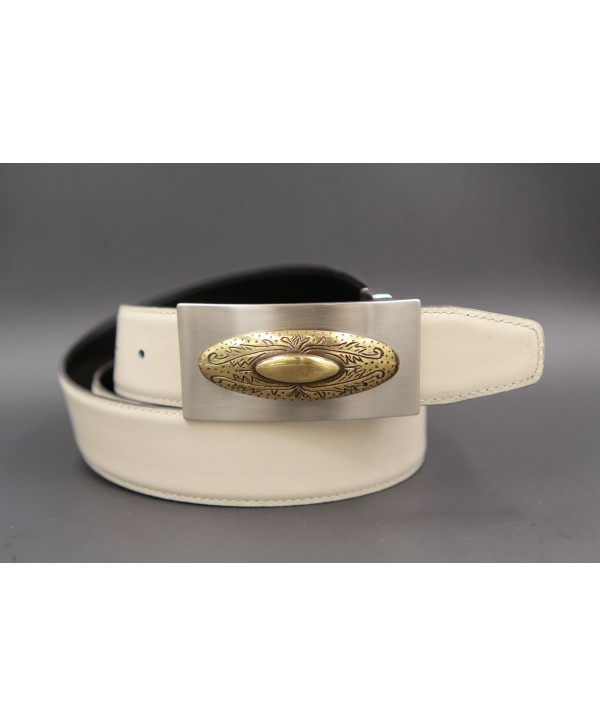 Reversible leather belt with nickel golden western buckle - White cream-brown