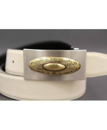 Reversible leather belt with nickel golden western buckle - White cream-brown - buckle detail