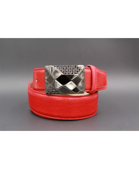 Leather red belt with elegant buckle set with black zircon
