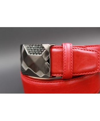 Leather red belt with elegant buckle set with black zircon - buckle other view
