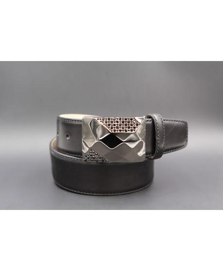 Leather black belt with elegant buckle set with black zircon