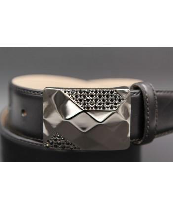 Leather black belt with elegant buckle set with black zircon - buckle detail