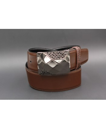 Reversible leather belt with elegant buckle set with black zircon - brown side