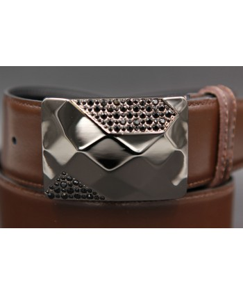 Reversible leather belt with elegant buckle set with black zircon - brown side - Buckle detail