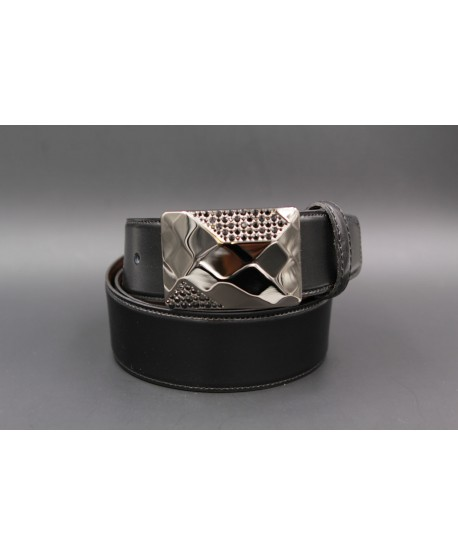 Reversible leather belt with elegant buckle set with black zircon - black side