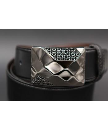 Ceinture cuir réversible boucle élégante sertie de zirconium noir - côté noir - détail boucle