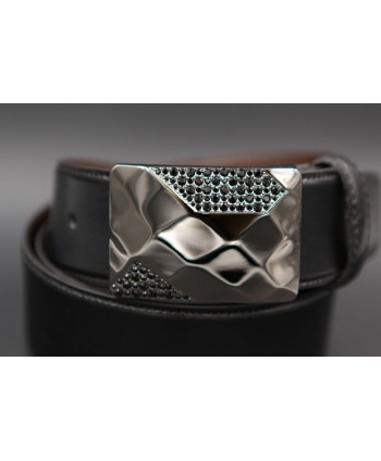 Reversible leather belt with elegant buckle set with black zircon - black side - Buckle detail