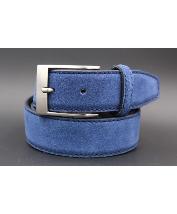 Blue suede leather belt - nickel buckle