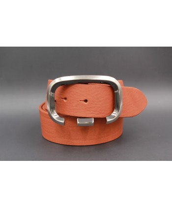 Open oval buckle camel belt