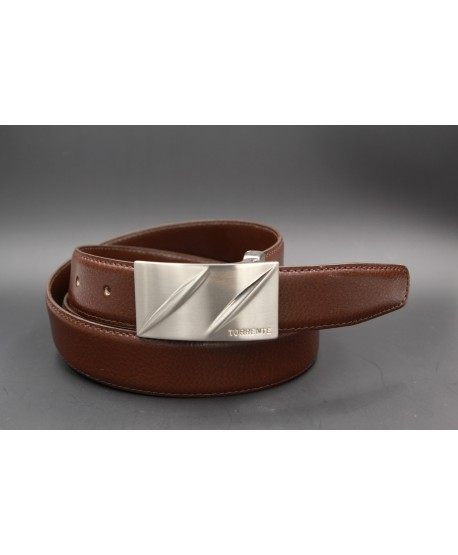 TORRENTE belt slit in brown calfskin, nickel buckle