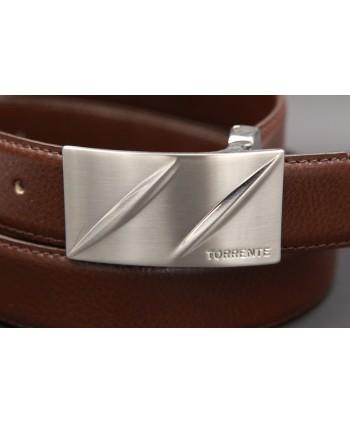 TORRENTE belt slit in brown calfskin, nickel buckle - buckle detail