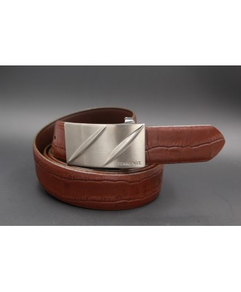 TORRENTE belt slit in brown calfskin imitation croco, nickel buckle