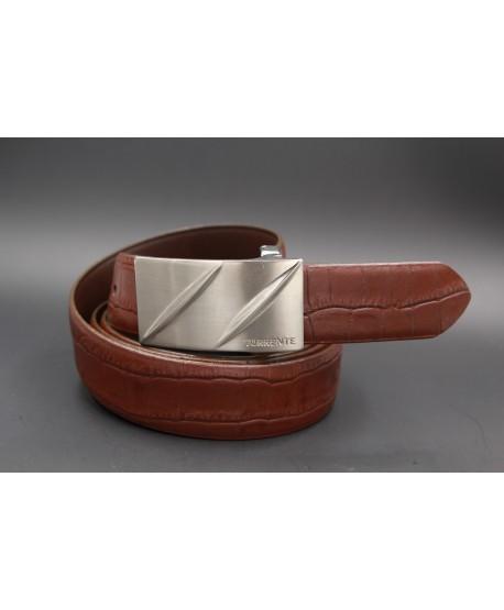 TORRENTE belt slit in brown calfskin imitation croco, nickel buckle