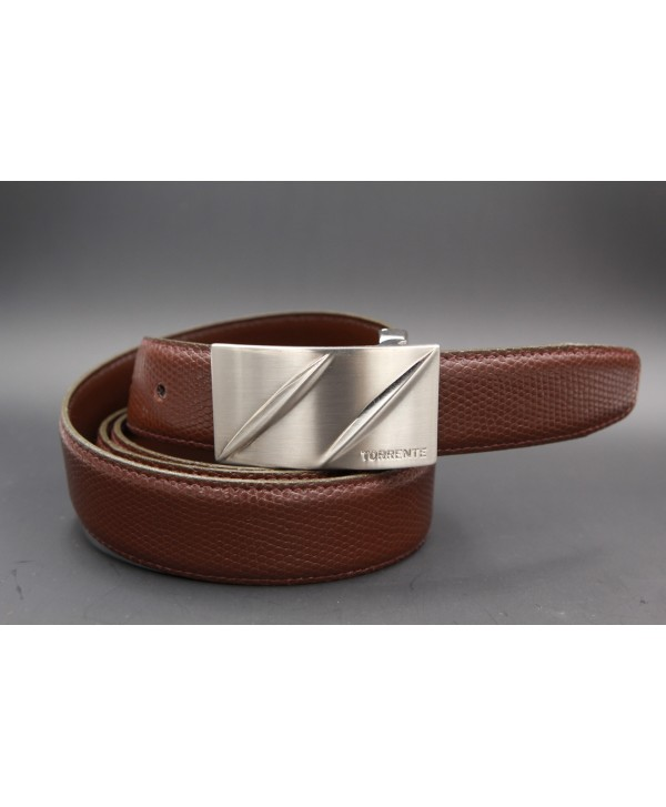 TORRENTE belt slit in brown calfskin imitation lizard, nickel buckle