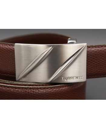 TORRENTE belt slit in brown calfskin imitation lizard, nickel buckle - buckle detail
