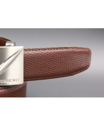 TORRENTE belt slit in brown calfskin imitation lizard, nickel buckle - detail