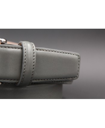Grey smooth leather belt - detail