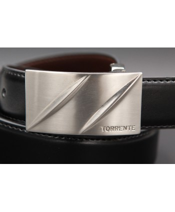 TORRENTE slit black and brown reversible calfskin belt, nickel buckle - buckle detail