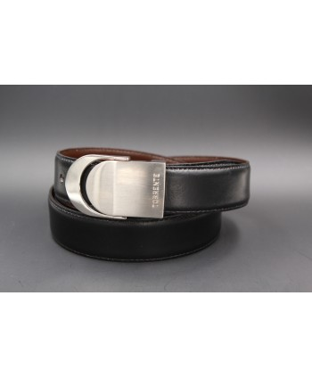 TORRENTE slit black and brown reversible calfskin belt, nickel buckle
