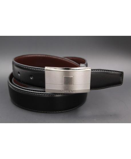 TORRENTE slit black and brown reversible calfskin belt.