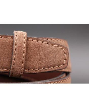 Brown suede leather belt - detail