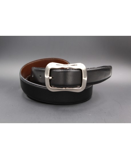 TORRENTE slit black and brown reversible calfskin belt.