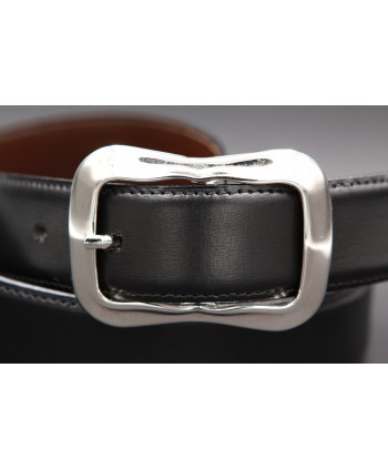TORRENTE slit black and brown reversible calfskin belt - buckle detail.
