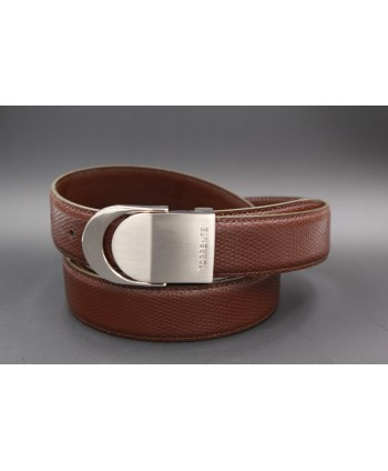 TORRENTE slit belt in brown calfskin imitation lizard, nickel buckle