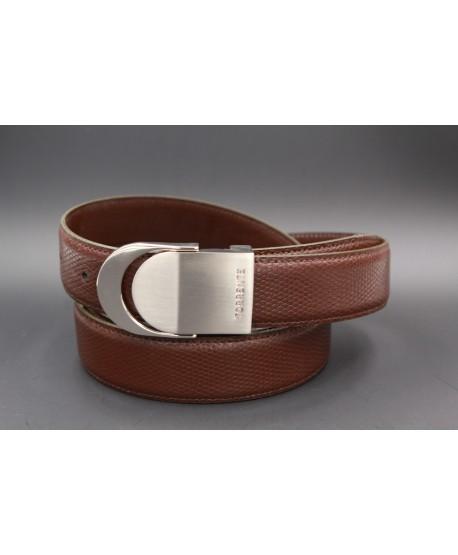 TORRENTE slit belt in brown calfskin imitation lizard, nickel buckle