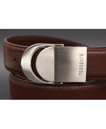 TORRENTE slit belt in brown calfskin imitation lizard, nickel buckle - buckle detail