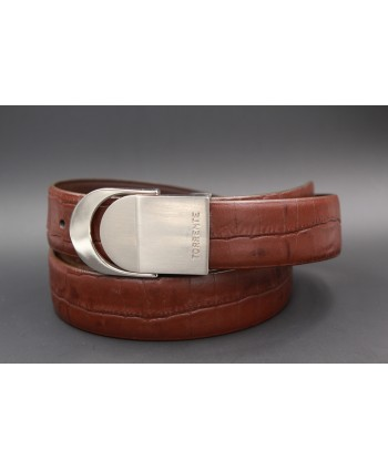 TORRENTE slit belt in brown calfskin imitation croco, nickel buckle